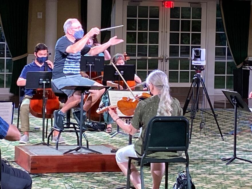 Dayton Philharmonic rehearsing at Carillon Park for their virtual showcase.
