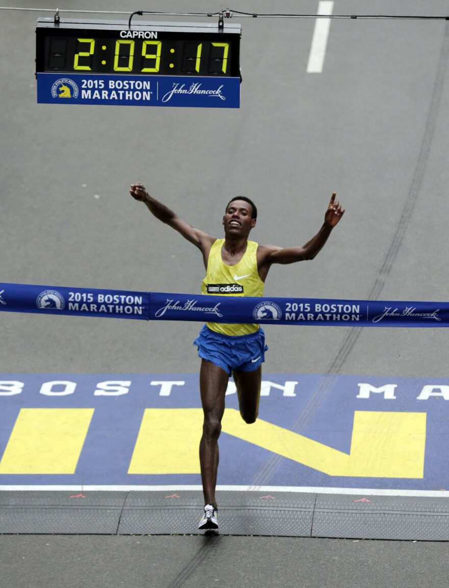 Lelisa Desisa, of Ethiopia, crosses the finish line to win the Boston Marathon on Monday.