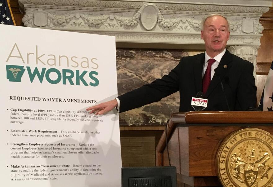 Arkansas Gov. Asa Hutchinson on March 6, 2017, presenting his proposed changes to the state's Medicaid-expansion program, which included the addition of a work requirement.