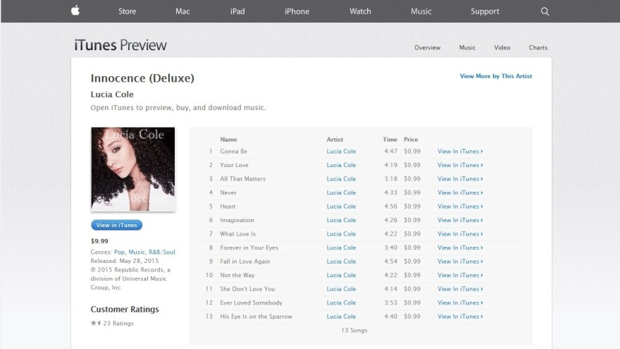 A screenshot of the now-removed page for Lucia Cole's album, <em>Innocence</em>, on iTunes.