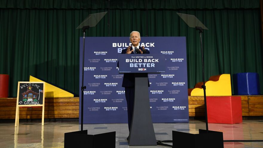 Joe Biden speaks about his economic recovery plan for working families on Tuesday in New Castle, Del.