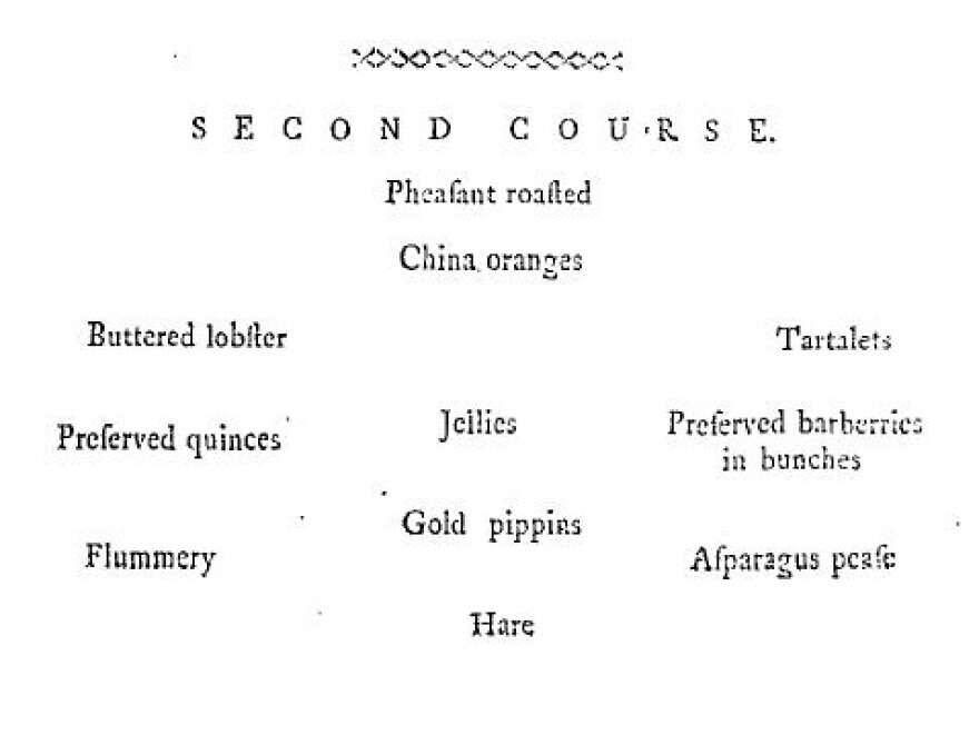 Bills of Fare for a typical wealthy person's second course in the month of January, originally published by Mary Smith of Newcastle, in her 1772 book, <em>The complete house-keeper and professed cook</em>.