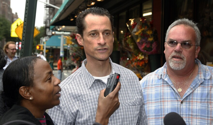 Rep. Anthony Weiner interviewed by journalists near his Queens home, Saturday, June  11, 2011.