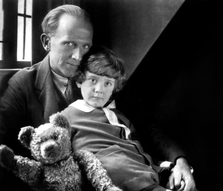 On his first birthday, Christopher Robin Milne — son of A.A. Milne — was given a teddy bear. That bear became the inspiration for the Winnie-the-Pooh tales, the first of which appeared in 1924. Father and son are pictured above in 1926.