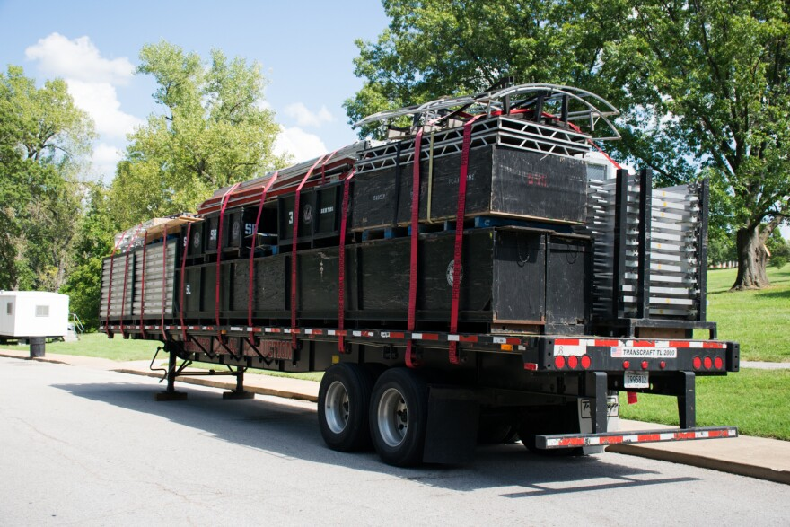 A flatbed trailer of staging and lighting equipment sat on the outskirts of of the LouFest grounds on Wednesday, Sept. 5. The festival was canceled before it could be unpacked.