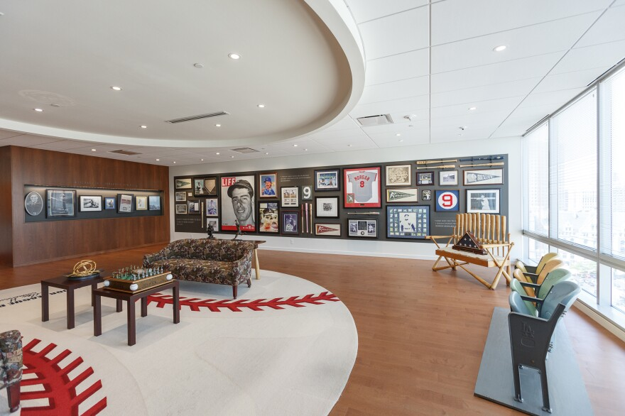 The reception area of Selig's office in downtown Milwaukee. He likes to take visitors on a tour of his office to explain its Hall-of-Fame worthy artifacts.