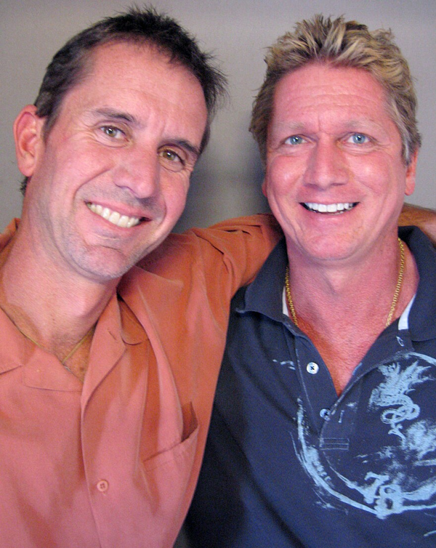 Peter Obetz (left) and Jeff Jarrett met in 1998 and are still close friends. Peter was diagnosed with stage IV esophageal cancer in 2004. He was declared cancer-free in 2009. They visited StoryCorps in Kansas City, Mo.