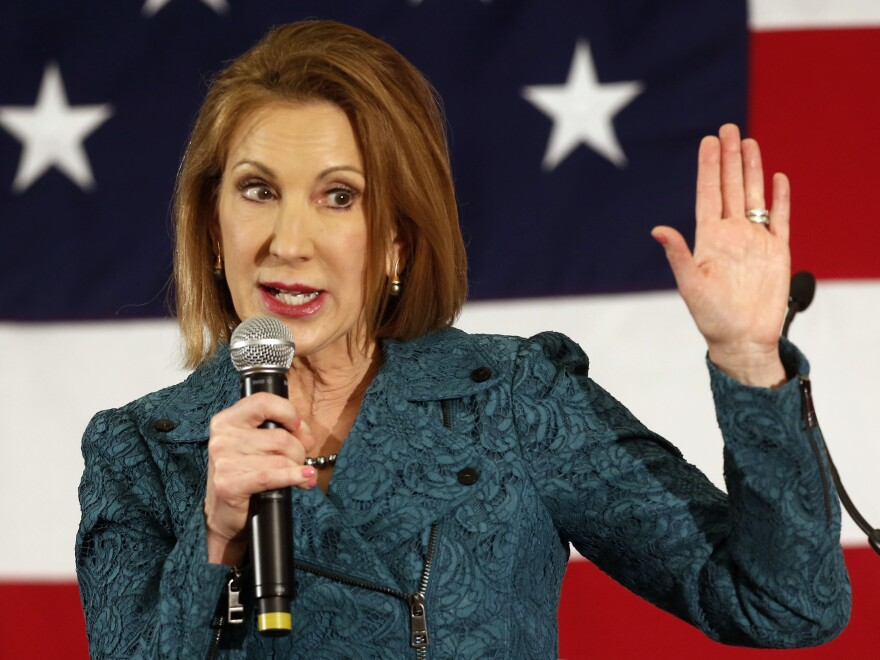 Carly Fiorina speaks at the Republican Leadership Summit in Nashua, N.H.