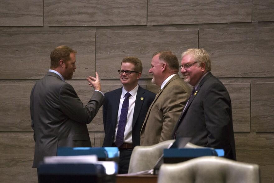 Sen. Caleb Rowden, center, was elected to the Missouri Senate in 2016.