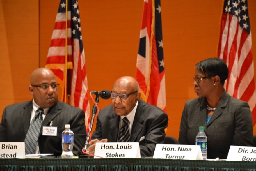 Akron Sgt. From left, Brian Armstead, former U.S. Rep. Louis Stokes and former State Sen. Nina Turner.