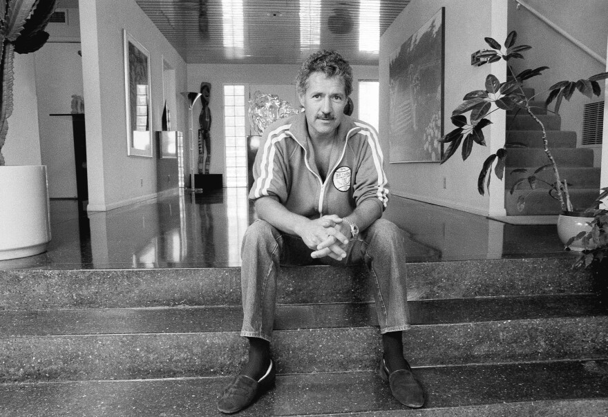 Trebek's U.S. TV debut was in 1973 in a show called <em>Wizard of Odds. </em>He's shown above in his Los Angeles home in 1988.