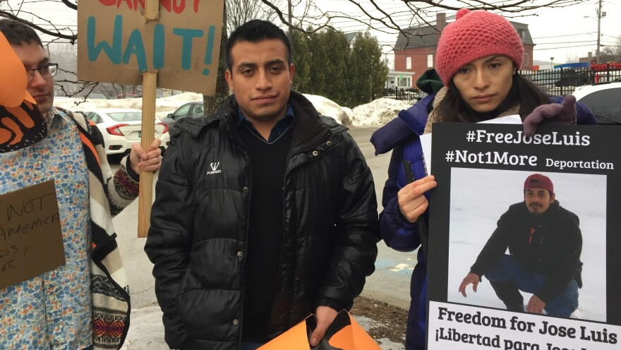Victor Garcia Diaz, left, and Zully Palacios Rodriguez, at a recent demonstration in Richford, Vt. They are two of the undocumented Migrant Justice leaders arrested by ICE.