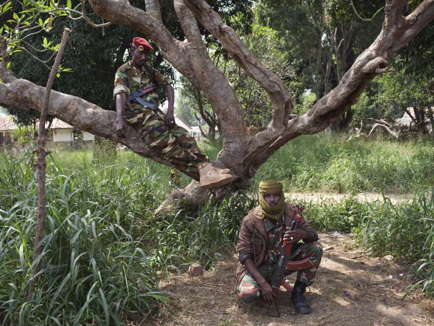 Seleka fighters pose for a photograph in Bossangoa, Central African Republic, on Nov. 25. The landlocked country has been gripped by violence since the mainly Muslim rebels seized power in the majority Christian country in March.