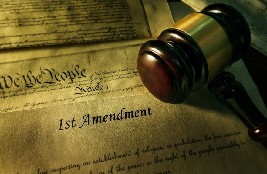 First Amendment to the Constitution with court gavel
