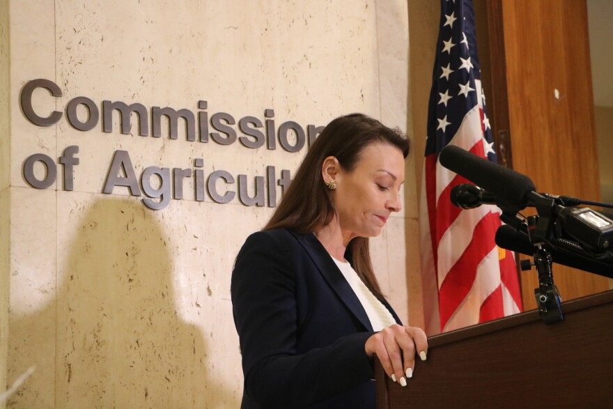Agriculture Commissioner Nikki Fried speaks at a press conference decrying House Republicans' attempt to move the Office of Energy from her agency to the Department of Environmental Protection