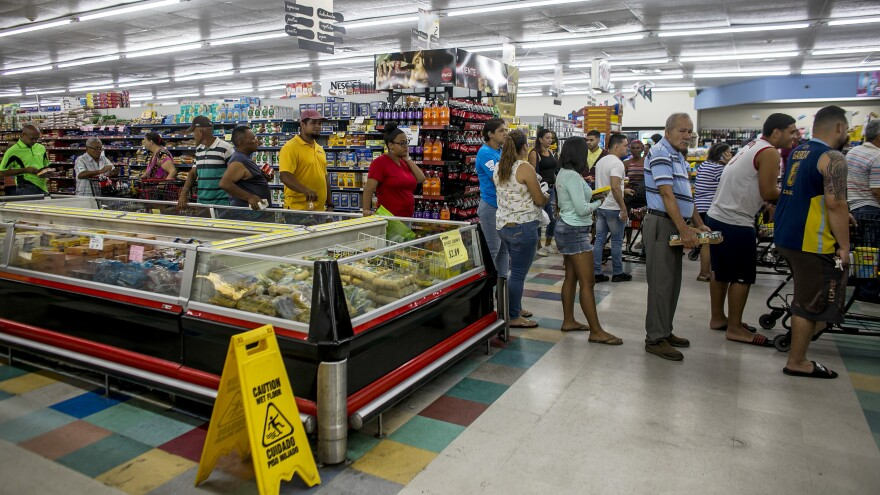 As Hurricane Dorian neared Puerto Rico, customers did last-minute shopping at a supermarket in Patillas. Dorian is expected to strengthen into an even more dangerous storm later this week.