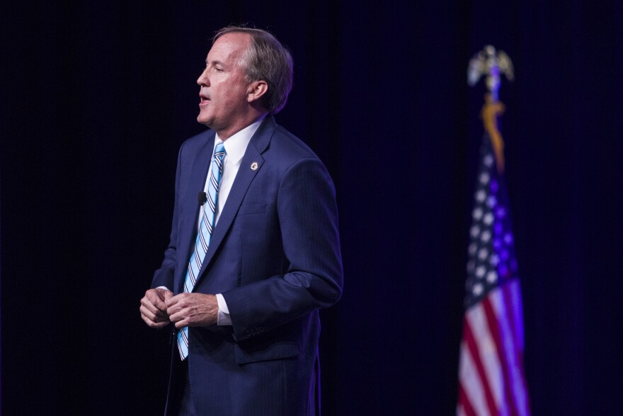 Texas Attorney General Ken Paxton speaks at the Texas State Republican Convention in 2018.