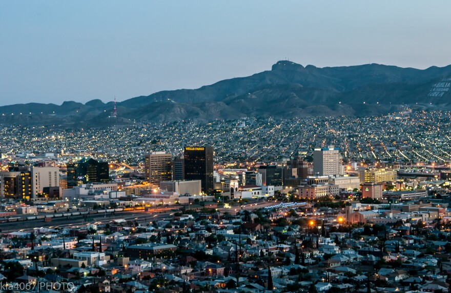 The border town of El Paso, TX with Juarez, Mexico in the background south of the Rio Grande River.