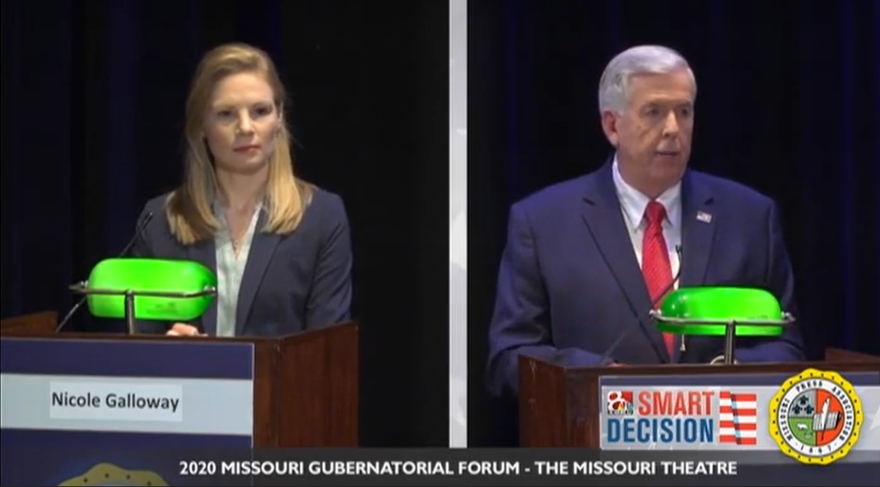 Missouri Gov. Mike Parson and Auditor Nicole Galloway participated in a debate hosted by the Missouri Press Association and KOMU 8 October 9, 2020.