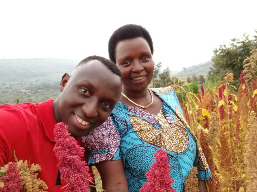 Cedric Habiyaremye and his mother on a quinoa farm in Rwanda.
