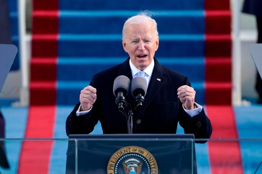 US President Joe Biden speaks after being sworn in as the 46th President of the US during the 59th Presidential Inauguration at the US Capitol in Washington.