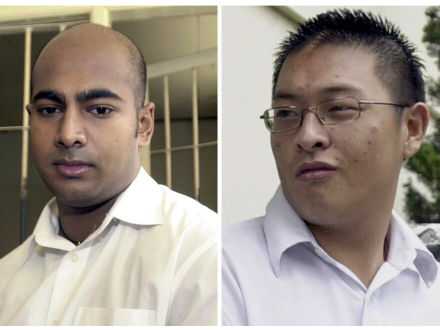 File photos from Jan. 2006 show Australian drug traffickers Myuran Sukumaran, left, and Andrew Chan during their trial in Bali, Indonesia. Indonesian authorities are reportedly ready to set an execution date for the pair.
