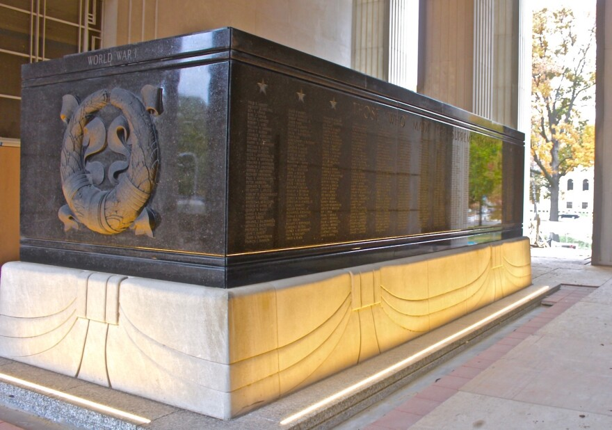 New lighting has been installed at the base of the black granite cenotaph in the memorial's atrium that lists the names of 1,075 St. Louis soldiers who died in World War I.