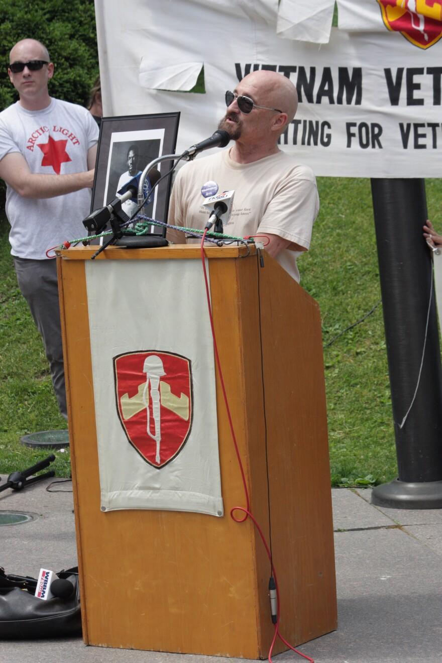Barry Romo speaking for Vietnam Veterans Against the War in 2012