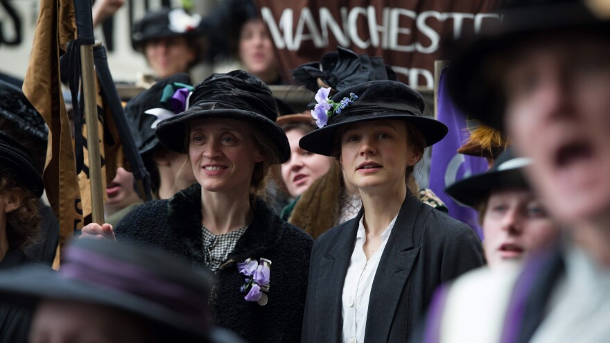 Anne-Marie Duff and Carey Mulligan are laundry workers who join the fight for women's votes in the new movie <em>Suffragette.</em>