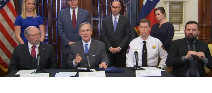 Gov. Greg Abbott speaking at a press conference to address COVID-19 on March 22, 2020.