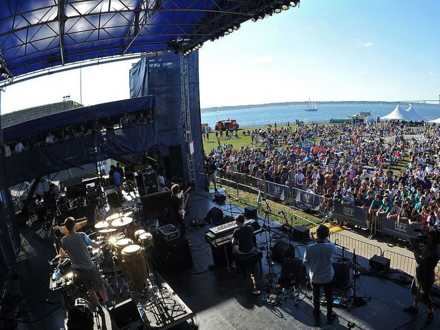The band Snarky Puppy playing at the Newport Jazz Festival in 2015.