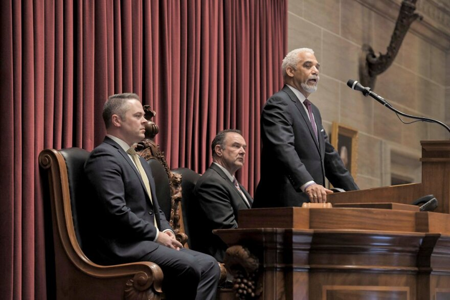 Missouri Chief Justice George Draper, center, delivers his State of the Judiciary Address on Jan. 22, 2020as House Speaker Elijah Haahr, R-Springfield and Lt. Gov. Mike Kehoe listen.