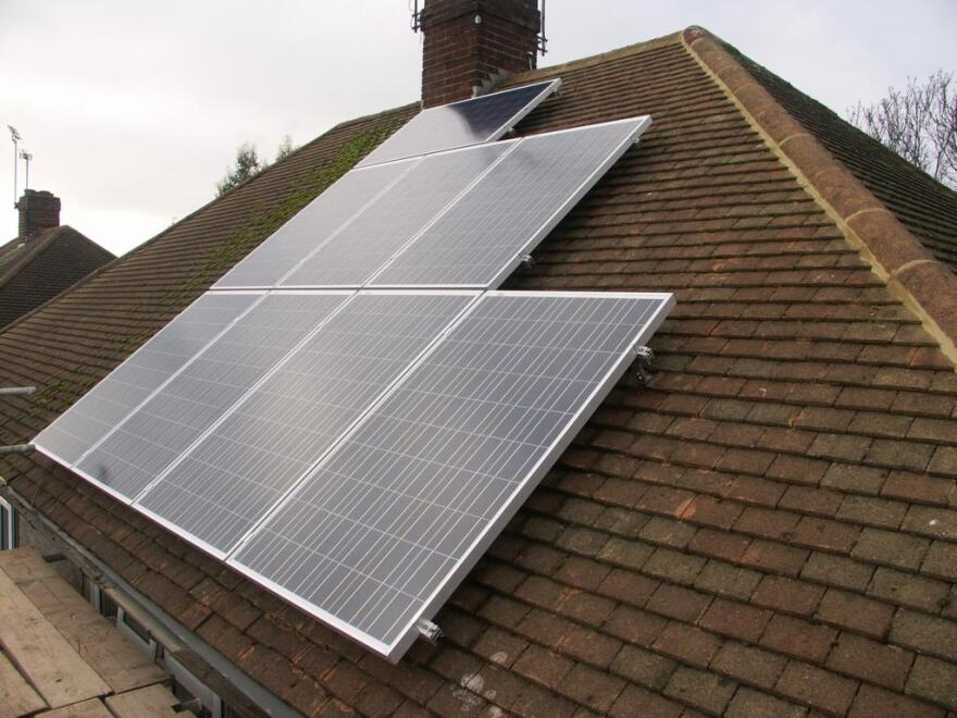 Solar panels installed on a residential roof