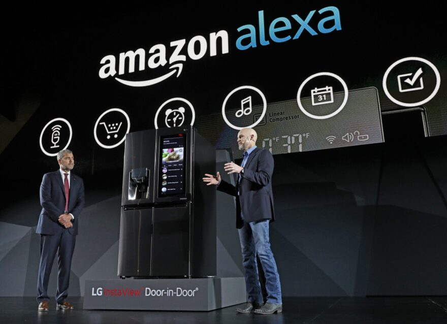 LG Electronics' vice president David VanderWaal and Amazon Echo vice president Mike George present the LG Smart InstaView Door-in-Door Refrigerator to CES 2017 attendees at the LG Electronics press conference on Wednesday, Jan. 4, 2017, in Las Vegas. Featuring InstaView technology and a smart touchscreen enabled with Amazon Alexa, users can simply knock twice to see what's inside the refrigerator without opening the door and shop for groceries easier than ever with Alexa voice control. (Jack Dempsey/AP Images for LG Electronics)