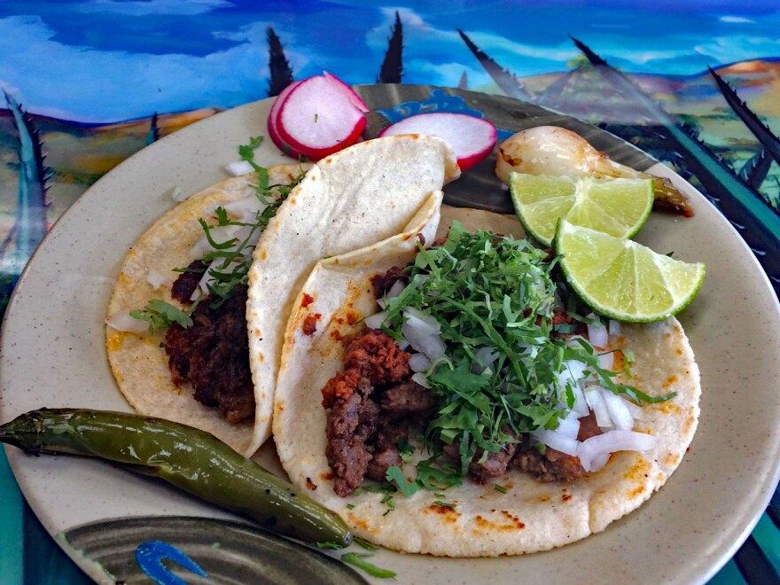 A plate of tacos at Tacos el Nevado 2019.