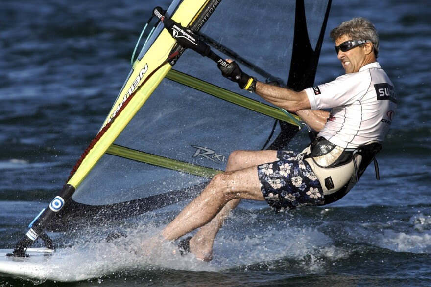 John Kerry, the 2004 Democratic presidential nominee, windsurfs off the coast of Nantucket, Mass., in 2004.