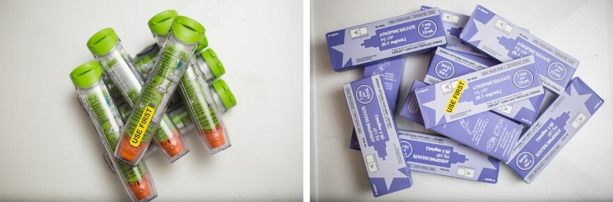 Expired EpiPens and atropine sulfate await pickup for disposal at Newton-Wellesley Hospital.