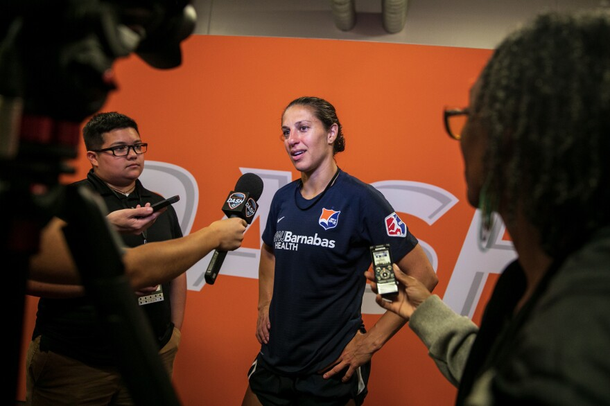 Carli Lloyd, a veteran of the U.S. National Team and current member of Sky Blue FC, is interviewed by the press after the team's loss to the Dash.