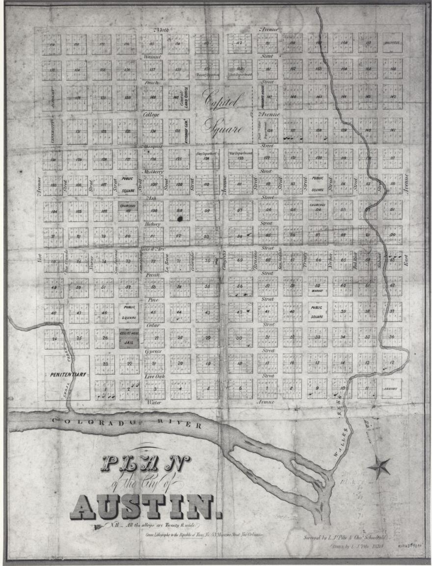 An 1839 map of Austin by L.J. Pile shows the initial moniker of what's now Cesar Chavez Street: Water Avenue.