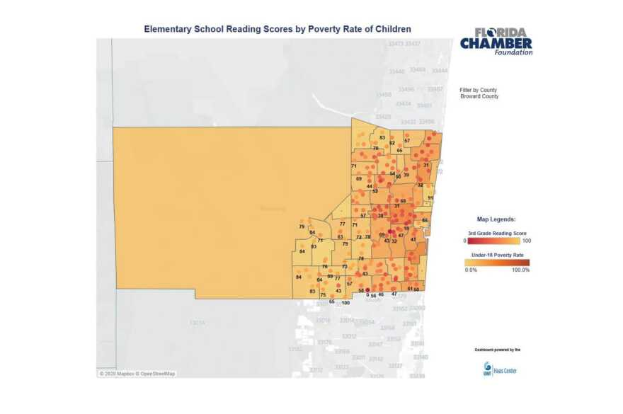 A new interactive map from the Florida Chamber Foundation visually displays the overlap between areas of childhood poverty and schools where third graders struggle with reading.
