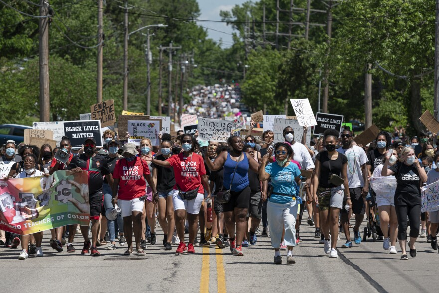 A peace march in Kirkwood June 6, 2020
