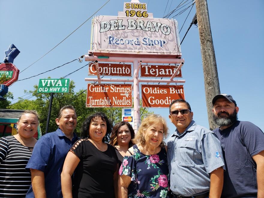 Del Bravo Records, Cultural Heritage District on San Antonio's West Side. From left, Diane Campa, Rudy Gutierrez, Irma Gutierrez, Debbie Gutierrez, Diamantina Gutierrez, Javier Gutierrez and Sergio Gutierrez all help run the store.