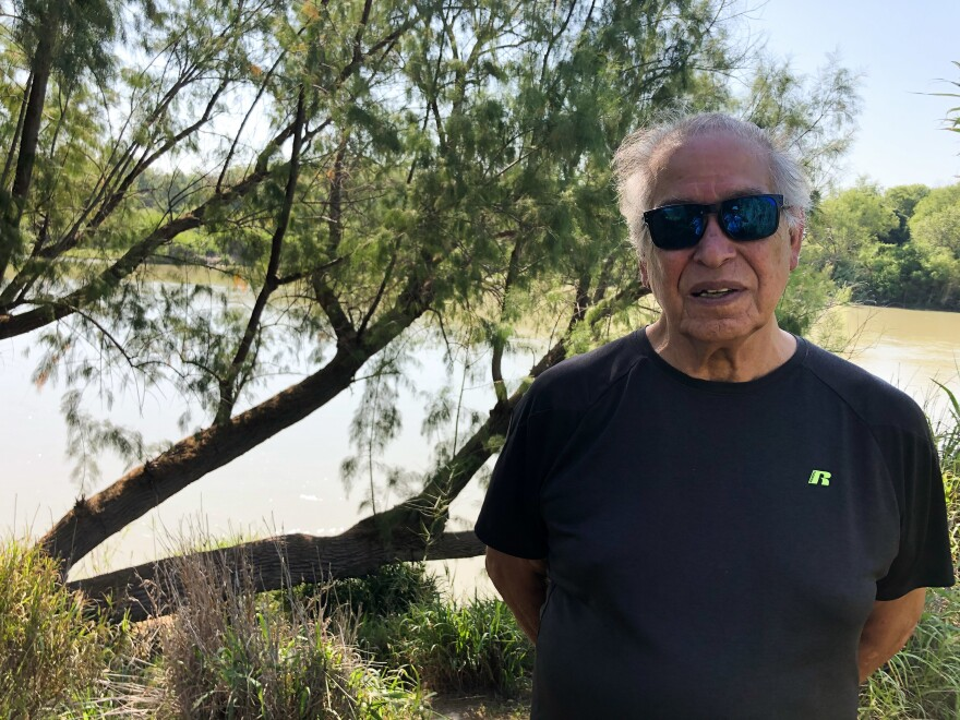 Landowner Tony Medina says a 30-foot-tall wall and its 150-foot enforcement zone would wipe out his property, which is popular with catfish anglers.