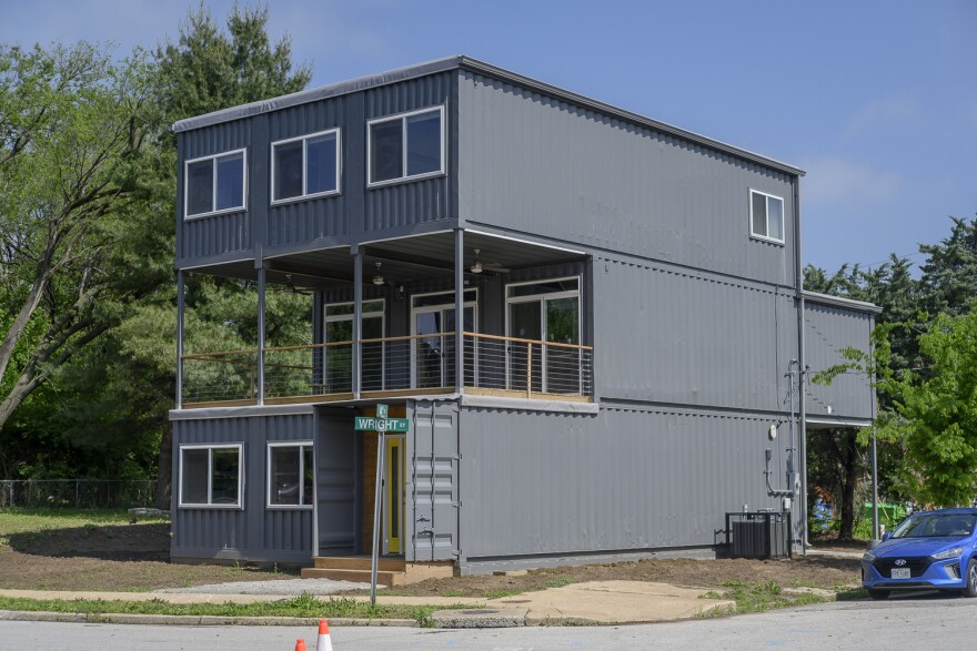 Nine separate shipping containers come together to form the Sheridans' new home in St. Louis' Old North neighborhood.
