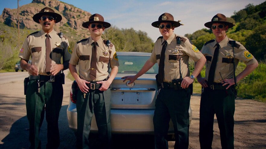 <em>Super Troopers</em> director and actor Jay Chandrasekhar (left), along with other castmates from the cult comedy film, solicit investment for a sequel in a screengrab from their IndieGogo campaign.