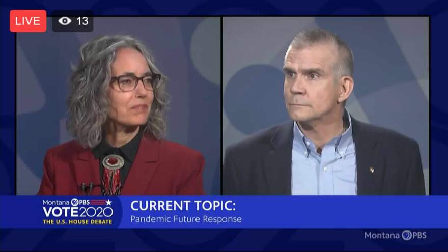 U.S. House candidates Kathleen Williams and Matt Rosendale debate on MontanaPBS, September 23, 2020.