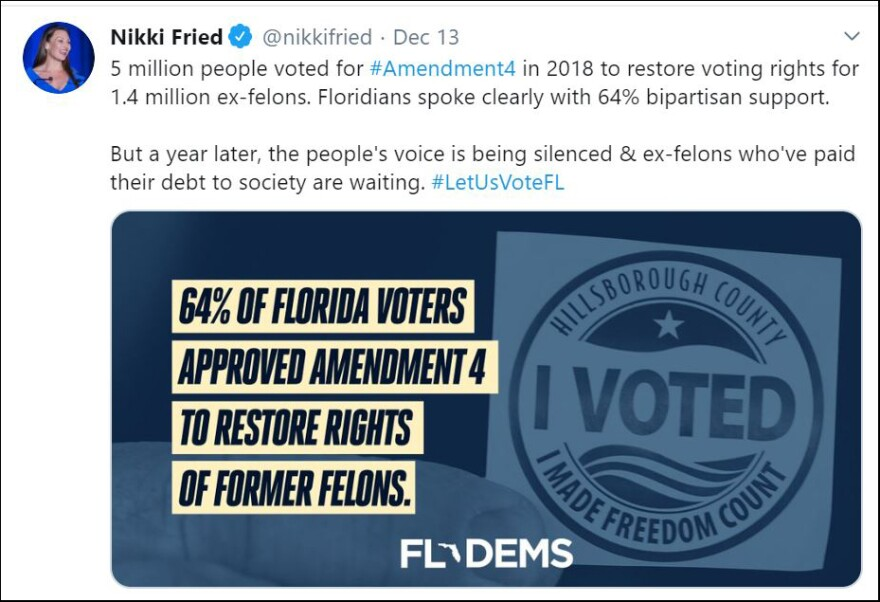 Democrats, including Agriculture Commissioner Nikki Fried, took to twitter on Friday to slam Gov. Ron DeSantis over the way the state is carrying out Amendment 4.