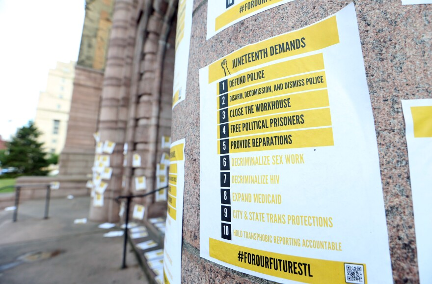 Handbills with a list of demands are stuck to the walls of St. Louis City Hall after a Juneteenth rally in St. Louis on Friday, June 19, 2020.