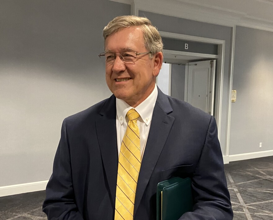 Rep. Bob Cupp (R-Lima), as he left the caucus meeting where members decided to hold a floor vote on removing Larry Householder (R-Glenford) as House Speaker.