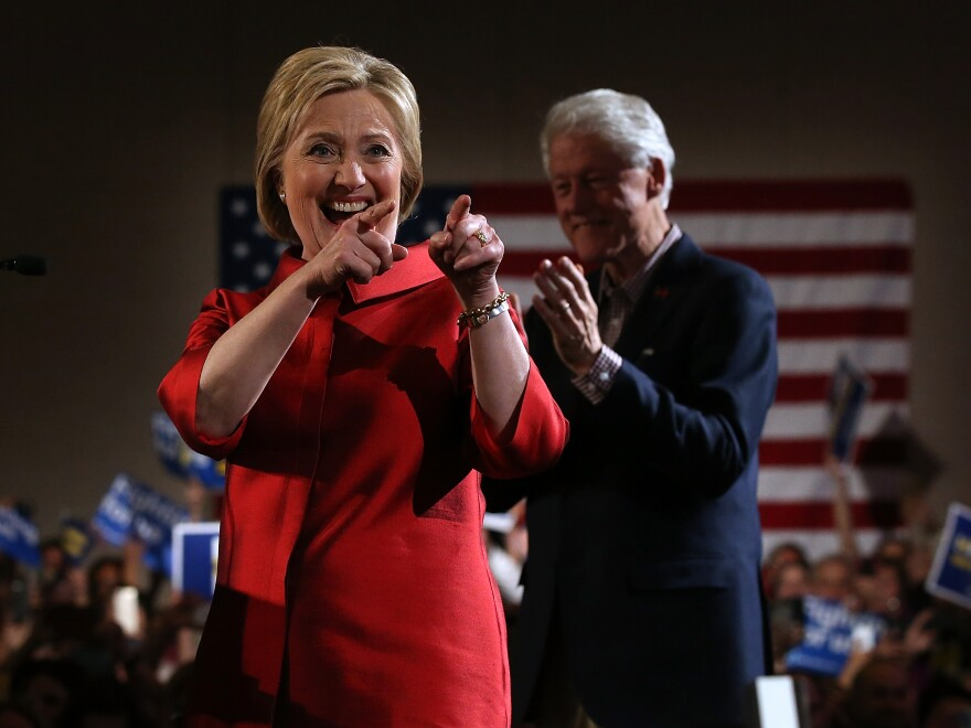Democratic presidential candidate former Secretary of State Hillary Clinton greets supporters during a caucus day event at Caesers Palace on February 20 in Las Vegas, Nevada.